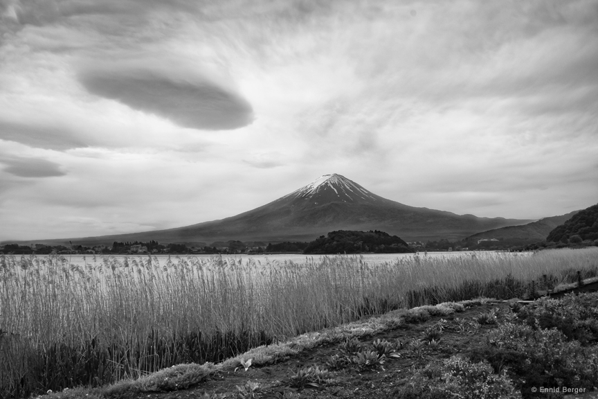 Mount Fuji with Clouds by Ennid Berger