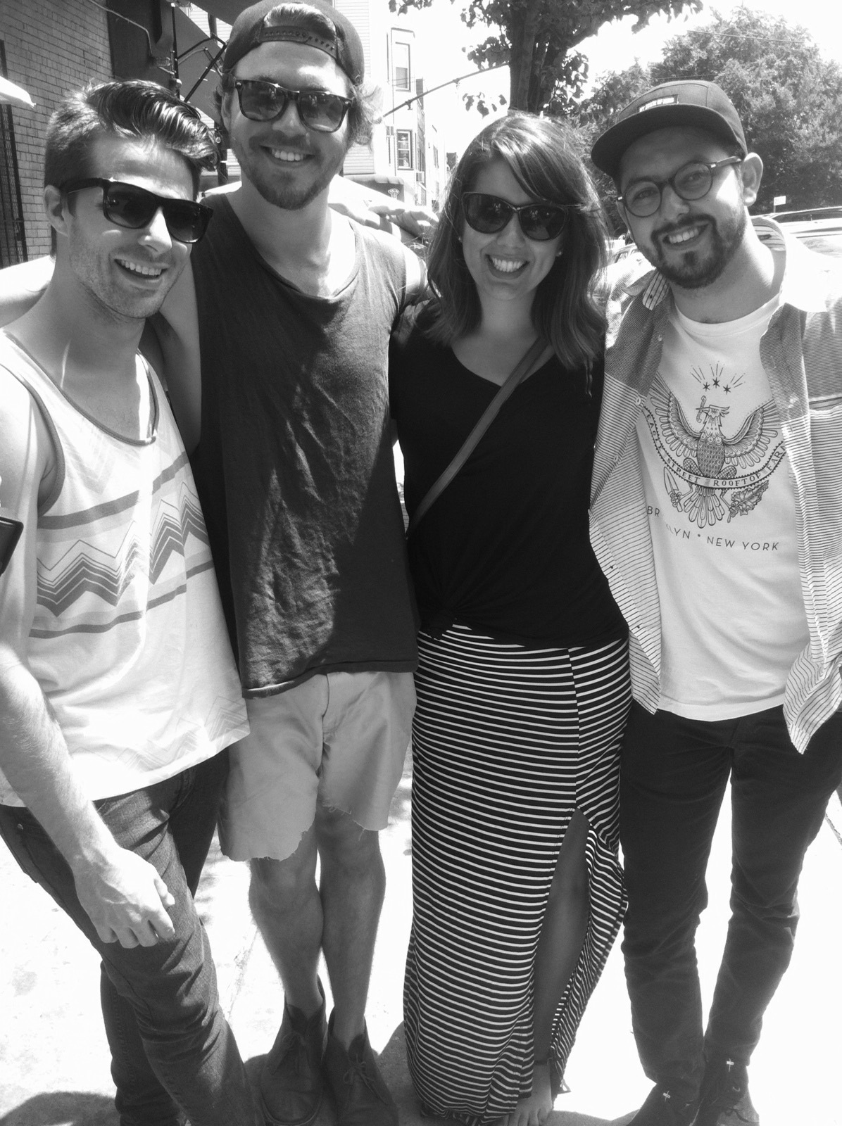 Brandon, Matty, Me, and Nic (with the eagle on his shirt) post brunch.