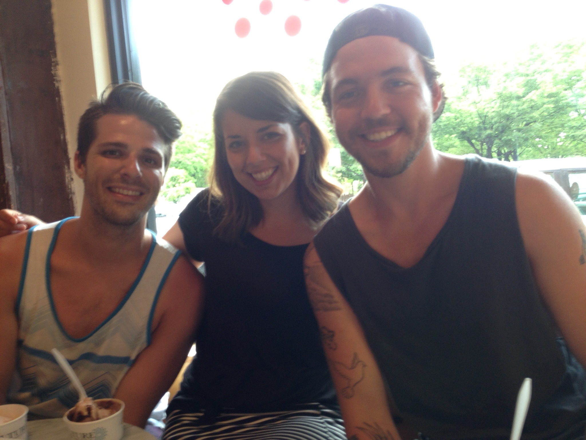 Sweaty and soaked, the perfect first date impression. Having ice cream with Brandon and Matty (and mom) before heading to the airport.