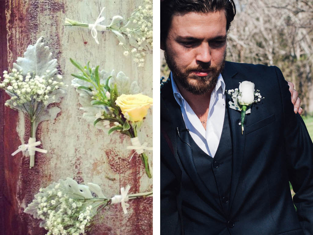 Boutonniere inspiration (insider's tip - the dusty miller will limp quickly)