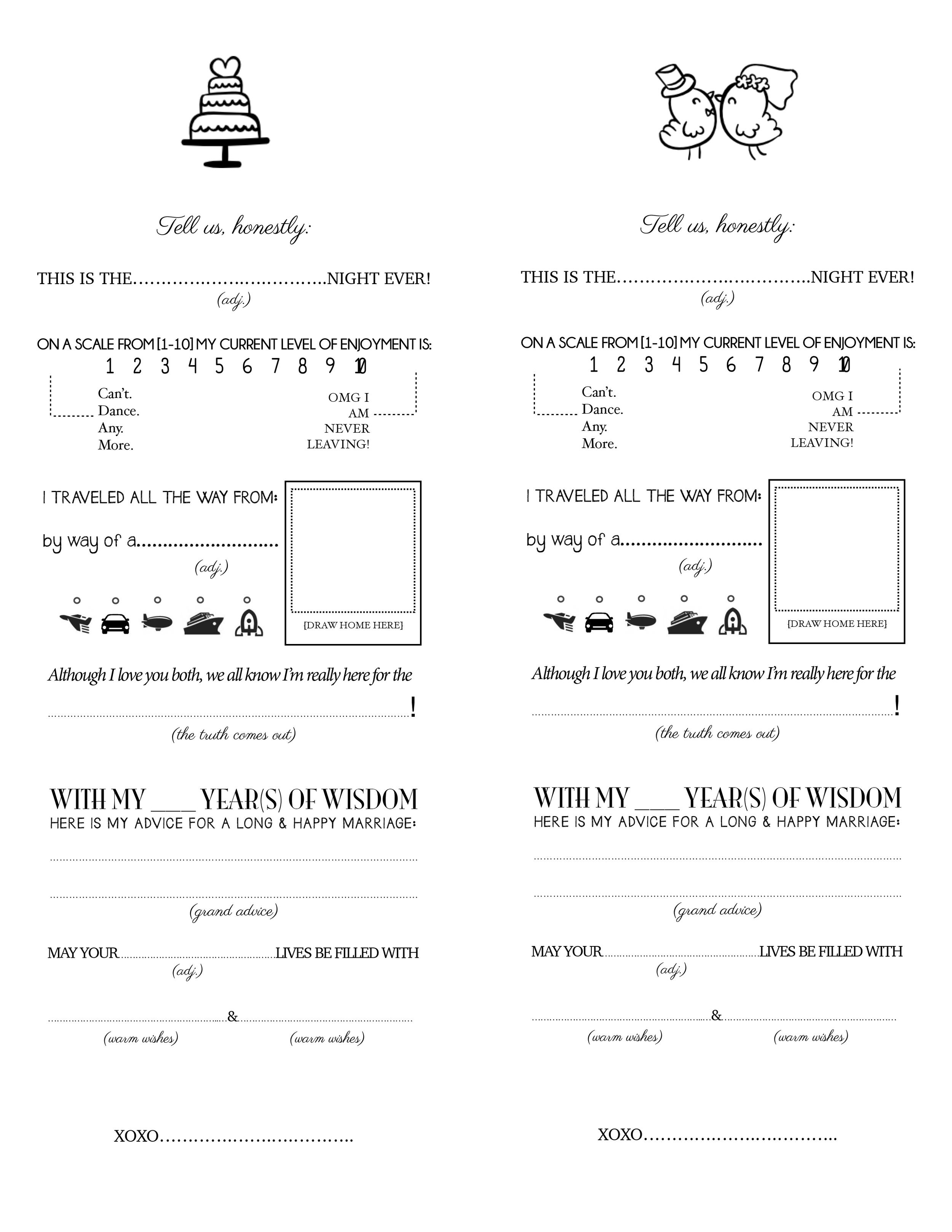 Free Printable: Mad-Lib Survey for Wedding Guests!