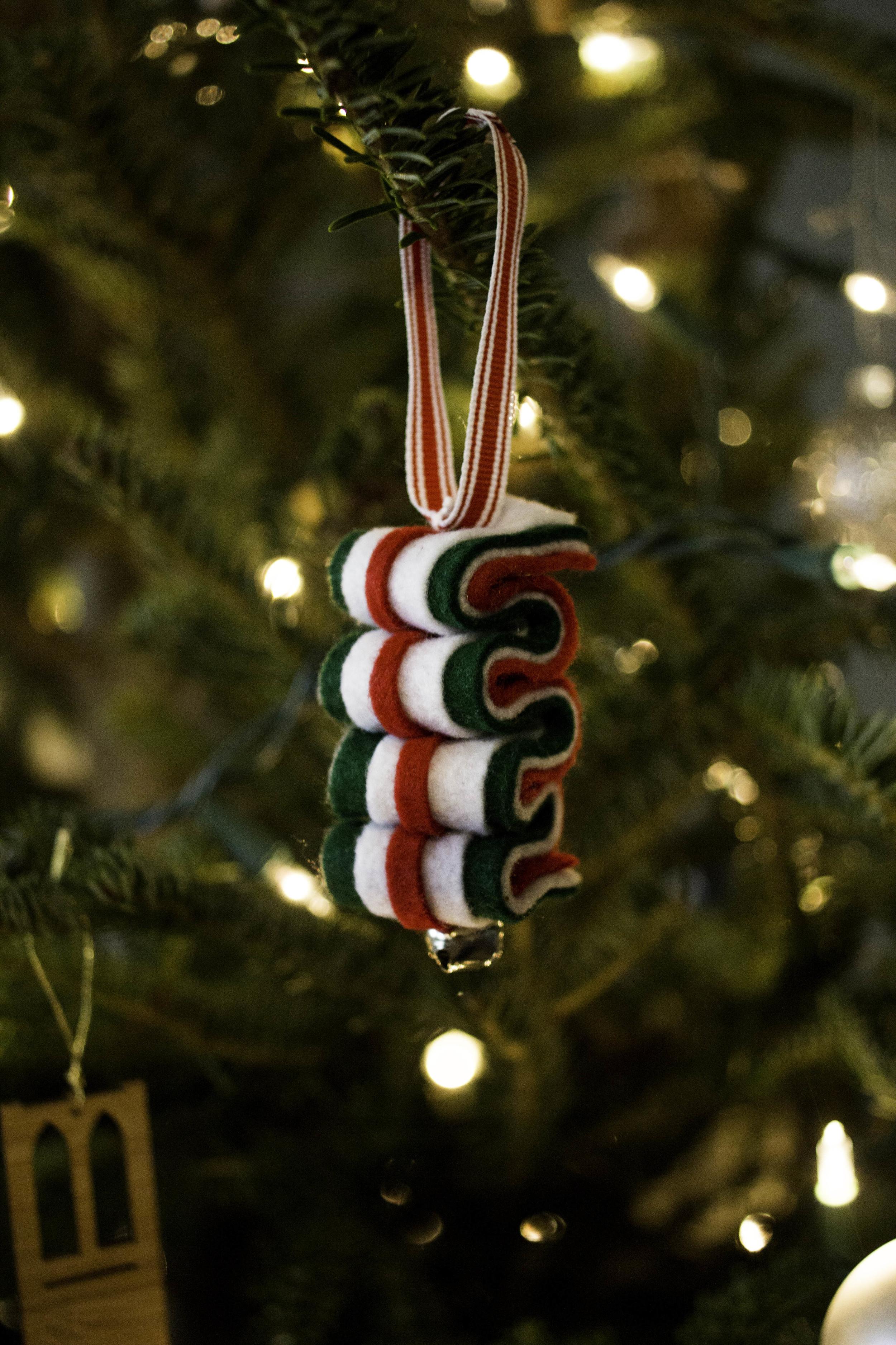 DIY One-Stitch Ribbon Candy Ornament