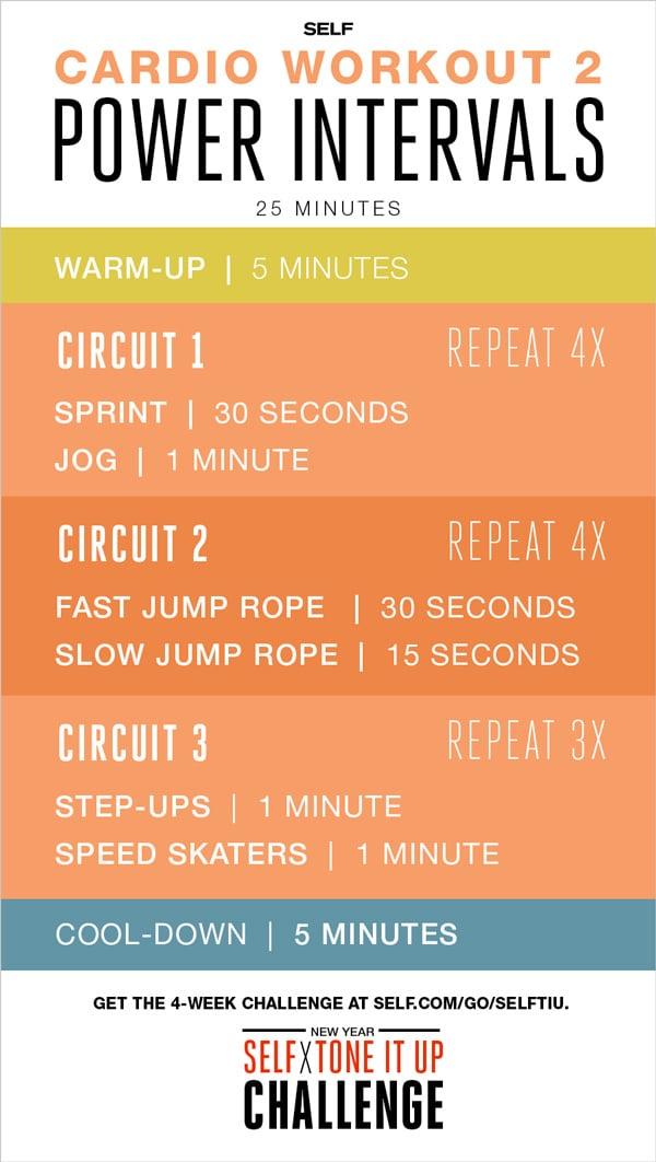 TIU Self Magazine Cardio Interval Workout