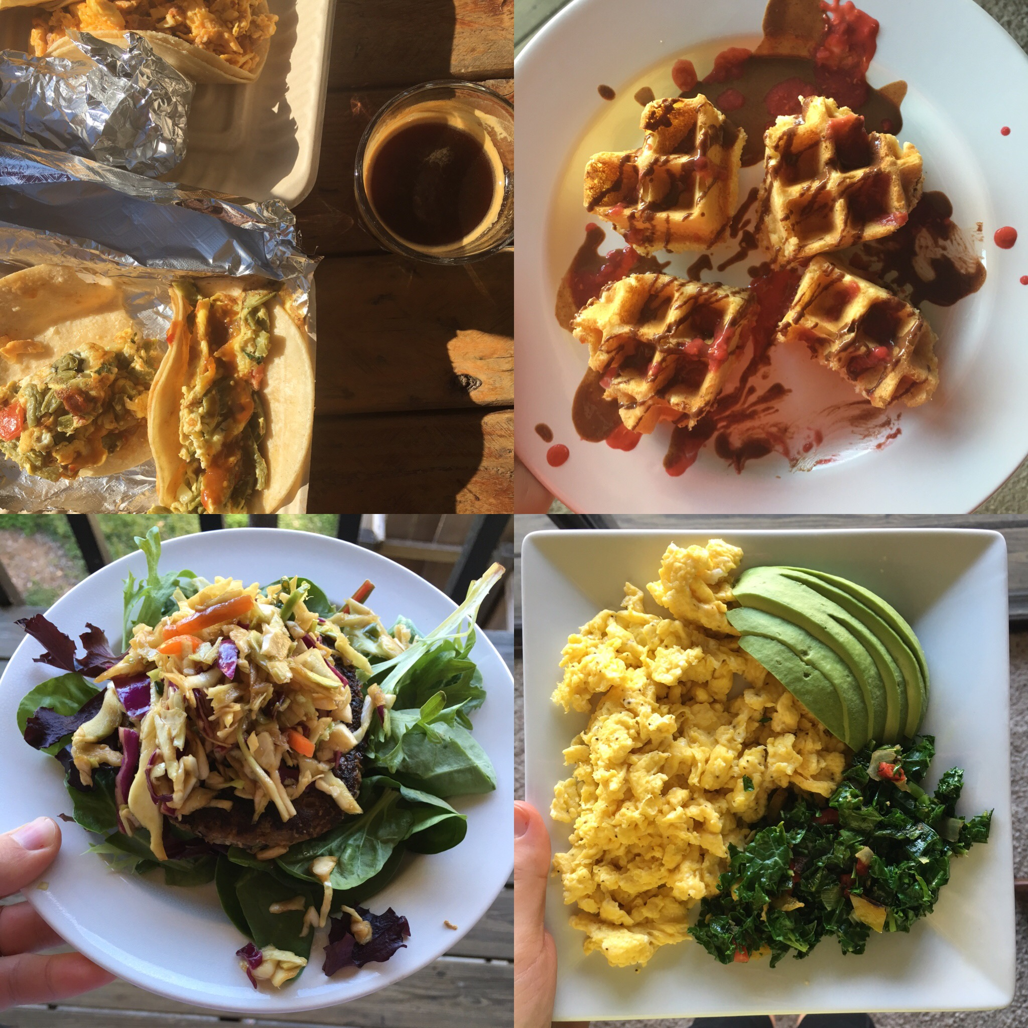 Bacon, cactus, & egg breakfast tacos, paleo waffle with Justin's Hazelnut Chocolate Butter, pot-sticker turkey burger, and slow scrambled eggs.