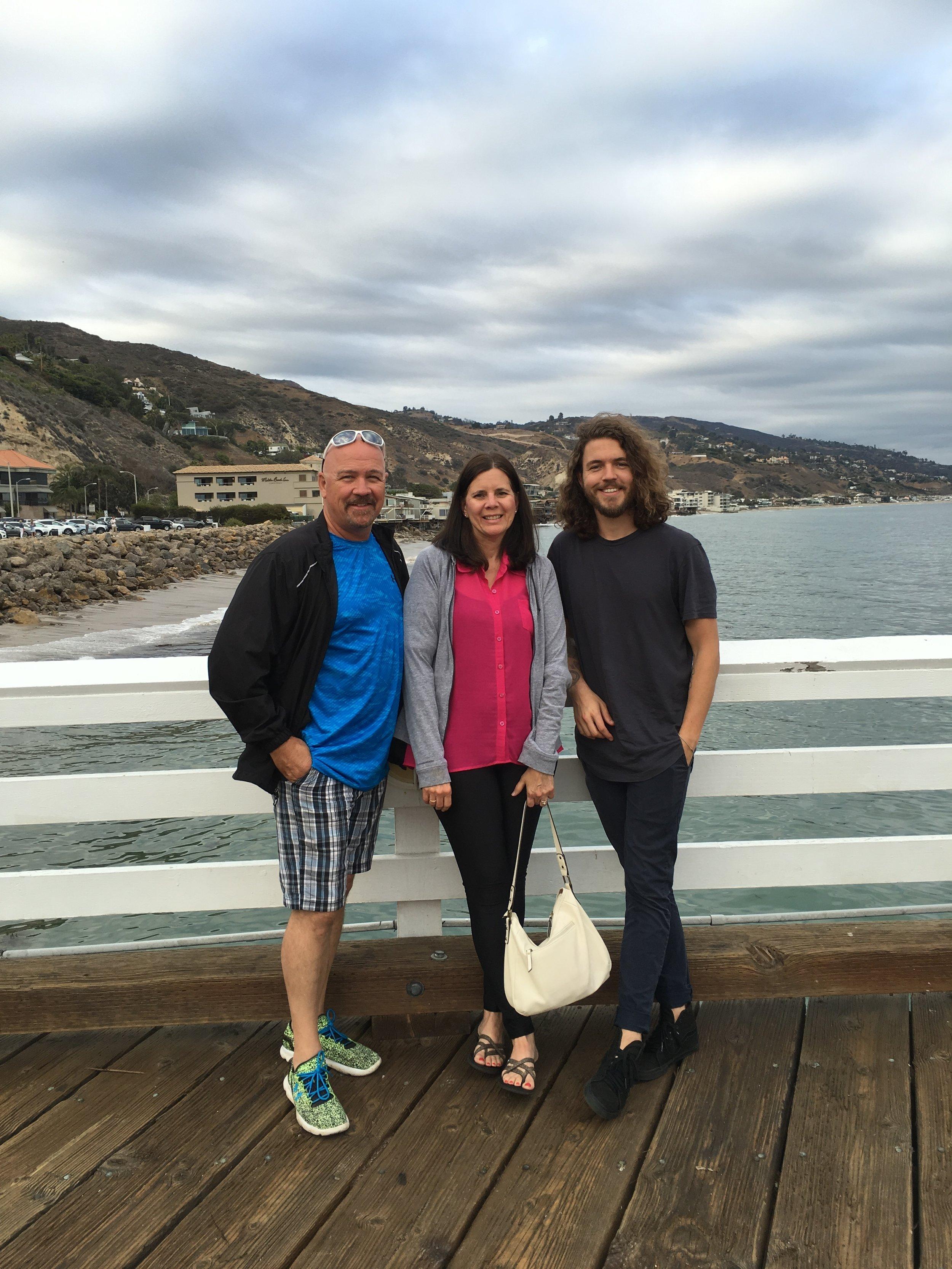 Matty with my parents in Malibu.
