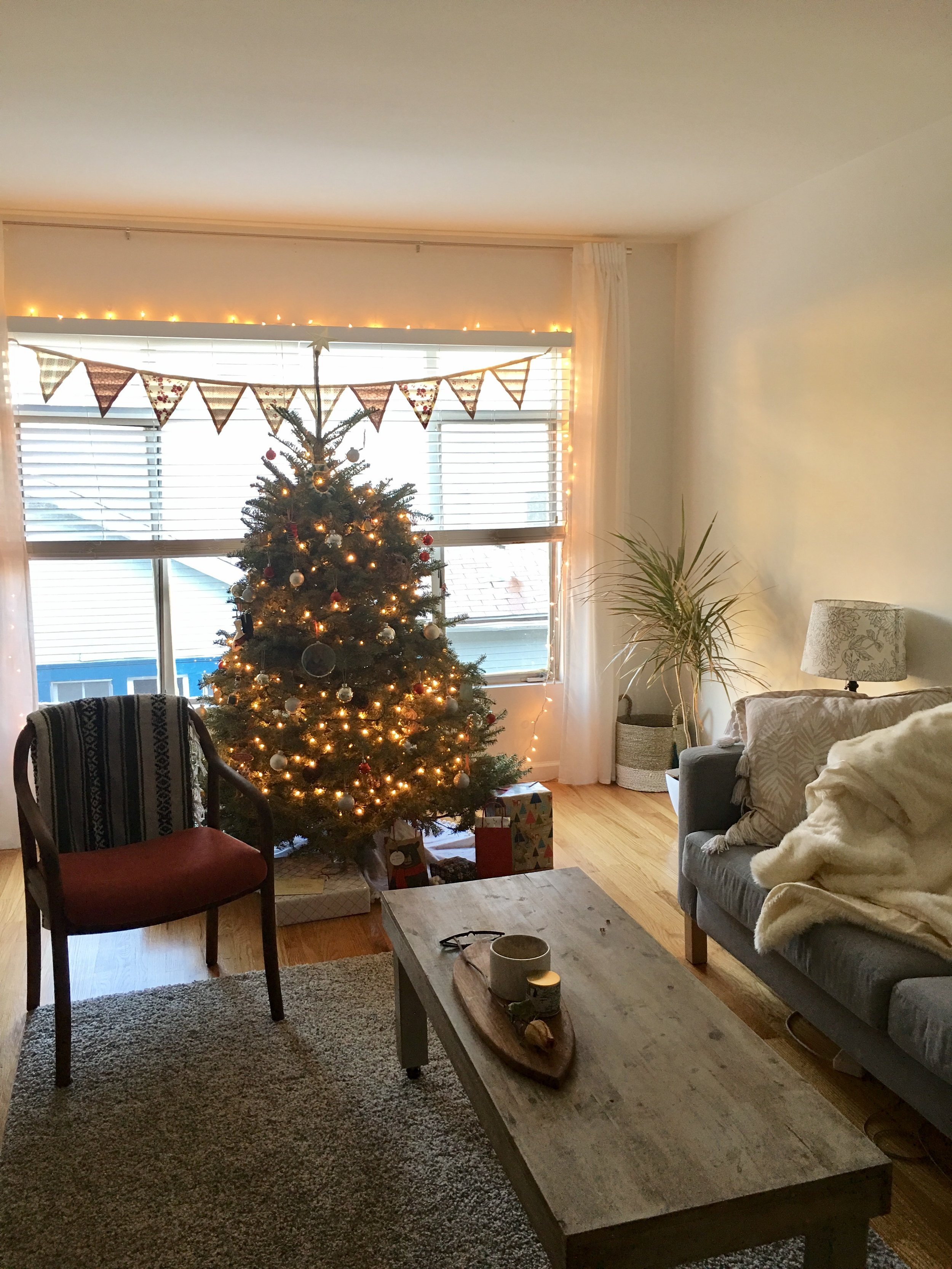Our home on Christmas morning. (Do not buy this couch.)