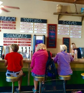 The crowded soda fountain counter at Shoo Fly. Photo Credit: M'Lissa Howen.