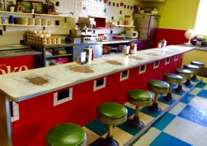 The well worn counter at Jake & Dorothy's. Photo Credit: M'Lissa Howen.