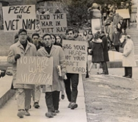 Students at the University of Wisconsin protesting the Vietnam War. Photo Credit: University of Wisconsin Digital Collection, licensed via WikiMedia Commons (Public Domain).