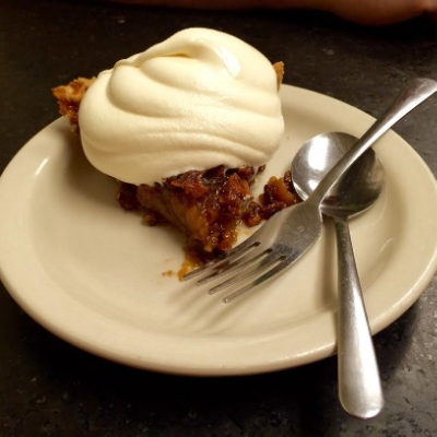 The irresistible force...Pecan pie at Blue Bonnet Cafe. Photo Credit: M'Lissa Howen.