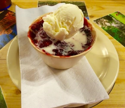 Blackberry cobbler at the Hill Country Cupboard. Just another sacrifice the nesters make for their readers. Photo Credit: M'Lissa Howen.