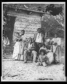 American slave family in South Carolina, circa 1862. What does their descendants see in the Confederate flag? In Robert E. Lee? Image courtesy Library of Congress.