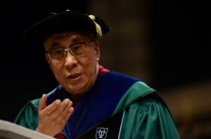 The Dali Lama addresses a college commencement last year. But what does he know? Image via WikiCommons