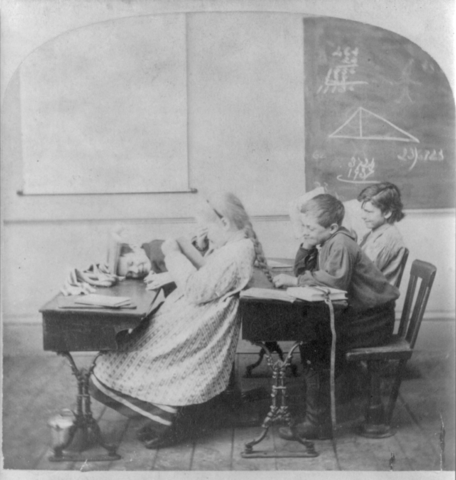 Children are often more interested in each other than geometry. The need for educational data cannot change human nature. Photo via  WikiMedia Commons .