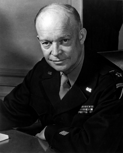 Eisenhower shortly after the invasion. Photo By C. Messerlin. (Army) via  Wiki Media Commons .