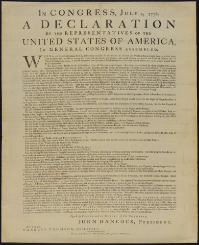 The first printed version of the United States declaration of Independence. To day we read it n our phone. From the public domain, via  WikiMedia Commons