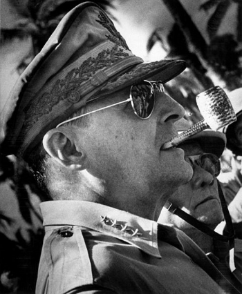 MacArthur was larger than life. And he knew it. Image via WikiMedia Commons.
