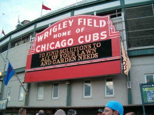 The welcome sign at Wrigley Field. Image Courtesy of Wikimedia Commons, By Giants27,  Public Domain