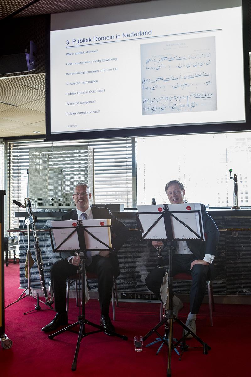 CPO Seminar Muziek & recht: 2 beroepsmuzikanten plus 2 dubbelgeschoolde juristen speelden werken van Mozart, Beethoven, Moussorgsky en Bach.