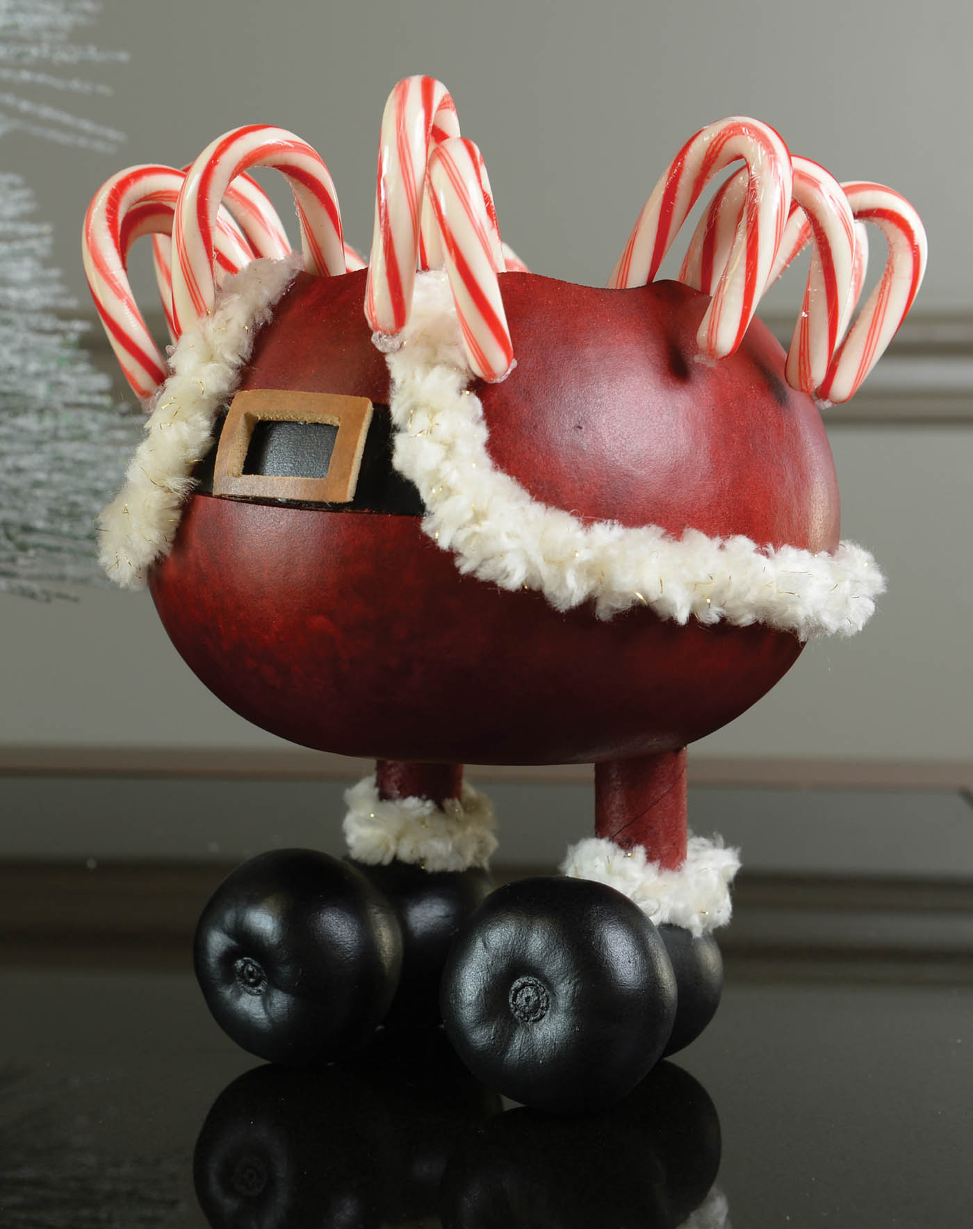 Santa Pants Painted Gourd Bowl