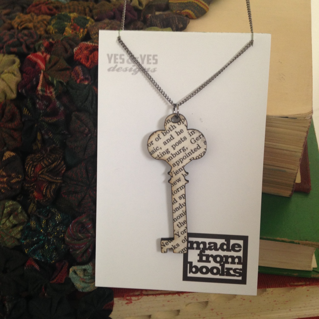 SKELETON KEY TEXT NECKLACE $26
