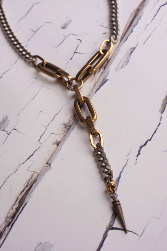 BRONZE AND STAINLESS DROP NECKLACE $1 50