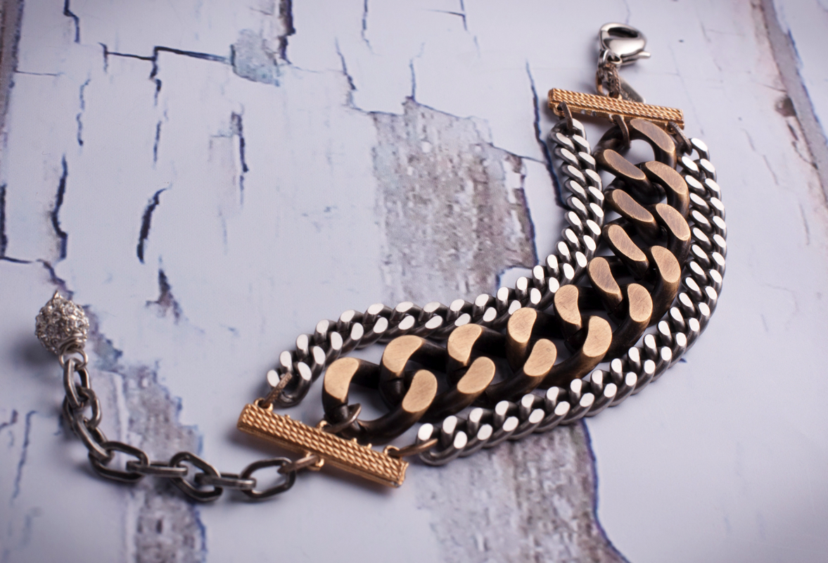 BRASS OX AND STAINLESS STEEL BRACELET $150