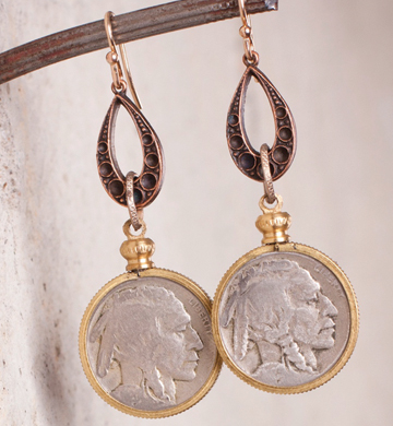 no Vintage bufflo nickel teardrop earrings_e1270.jpg