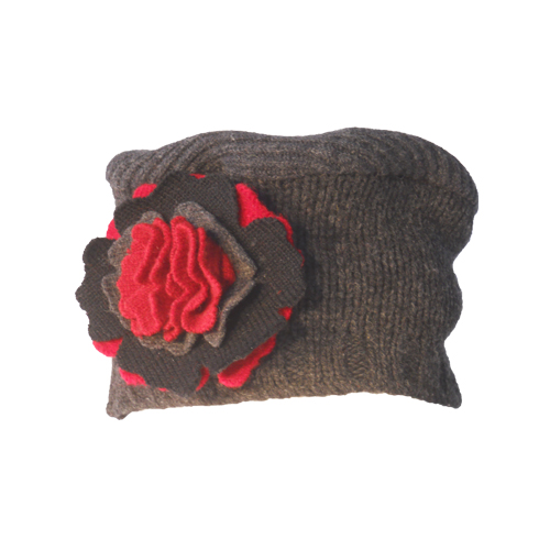 Gray and Red Large Flower Hat $50
