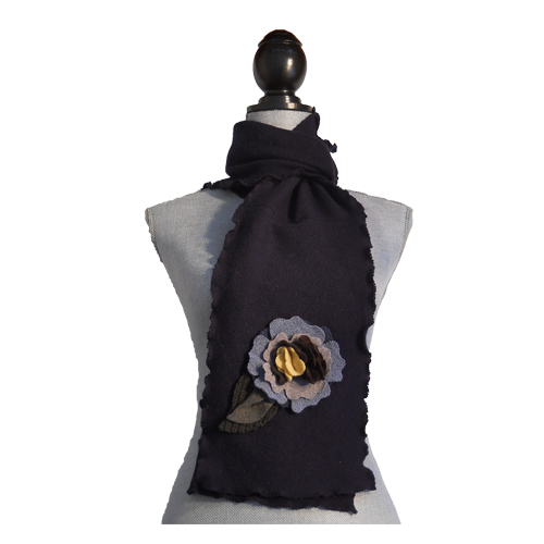 Navy Blue and Natural Scarf $56
