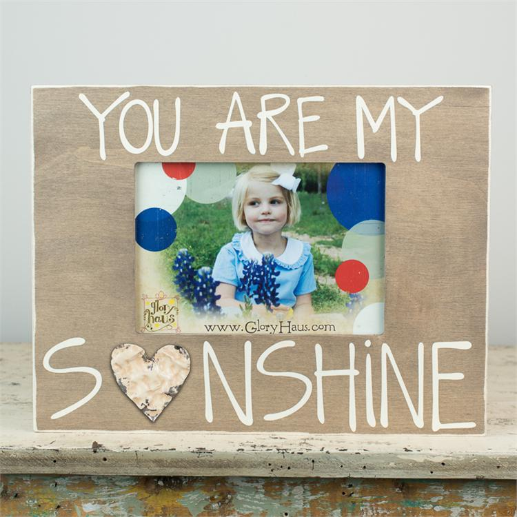 YOU ARE MY SUNSHINE' BOARD FRAME WITH TIN HEART $32