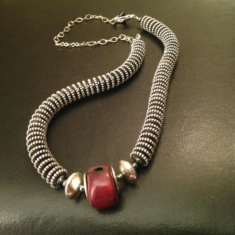 RED JASPER & STEEL NECKLACE $165