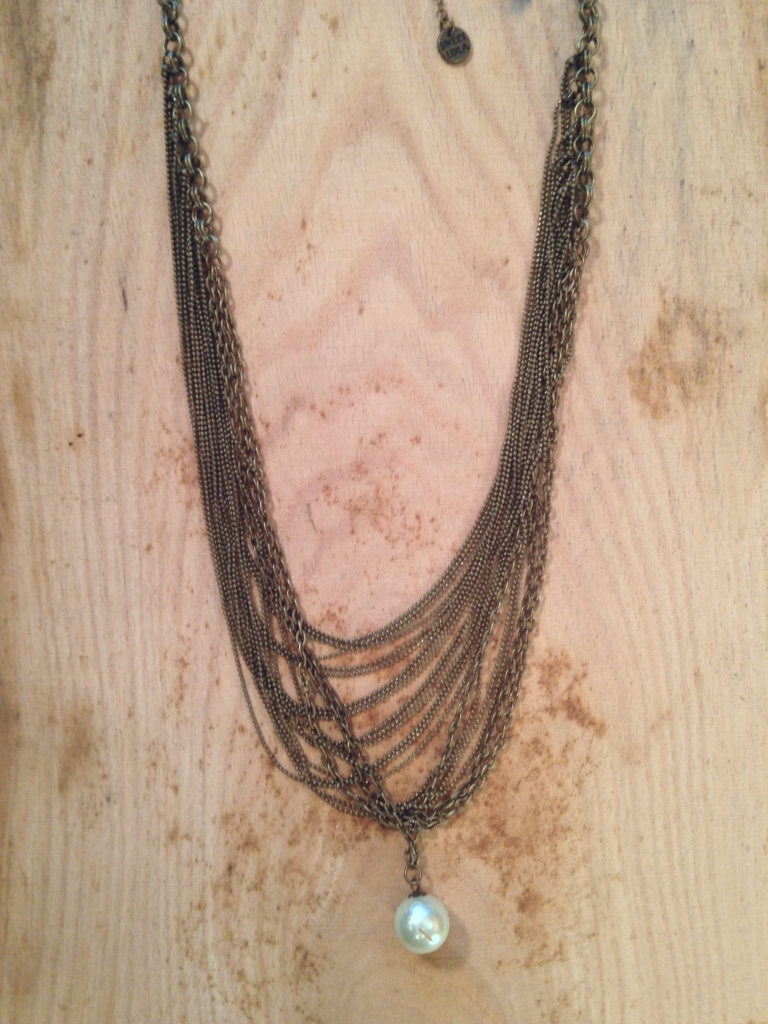 ANTIQUE BRONZE CHAIN NECKLACE WITH PEARL ACCENT $40.00