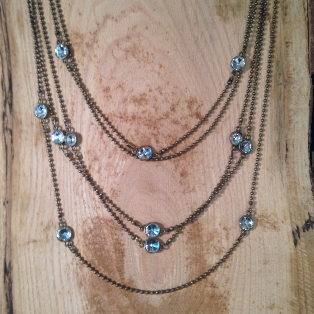 ANTIQUE BRONZE 5-STRAND CHAIN NECKLACE WITH CRYSTALS $40.00