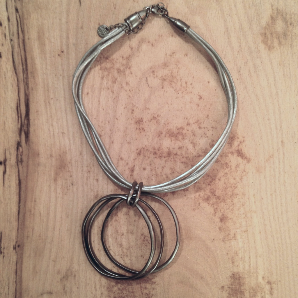 ORGANIC MATTE GRAY PENDANT WITH SILVER LEATHER BAND NECKLACE $40.00