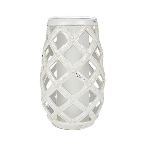 CERAMIC DISTRESSED WHITE VASE WITH GRAY LINER $30