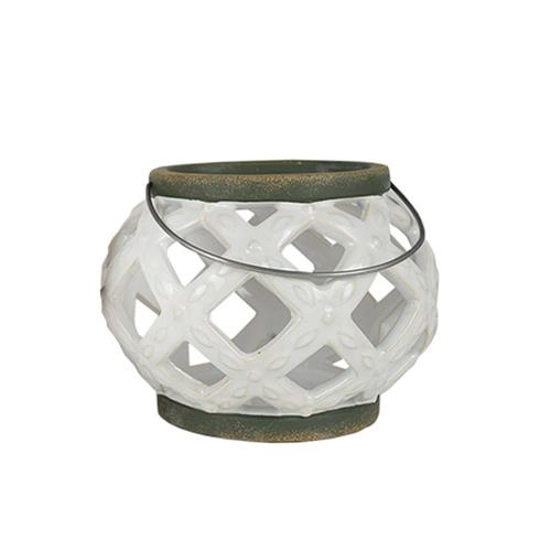CERAMIC DISTRESSED WHITE LANTERN $14