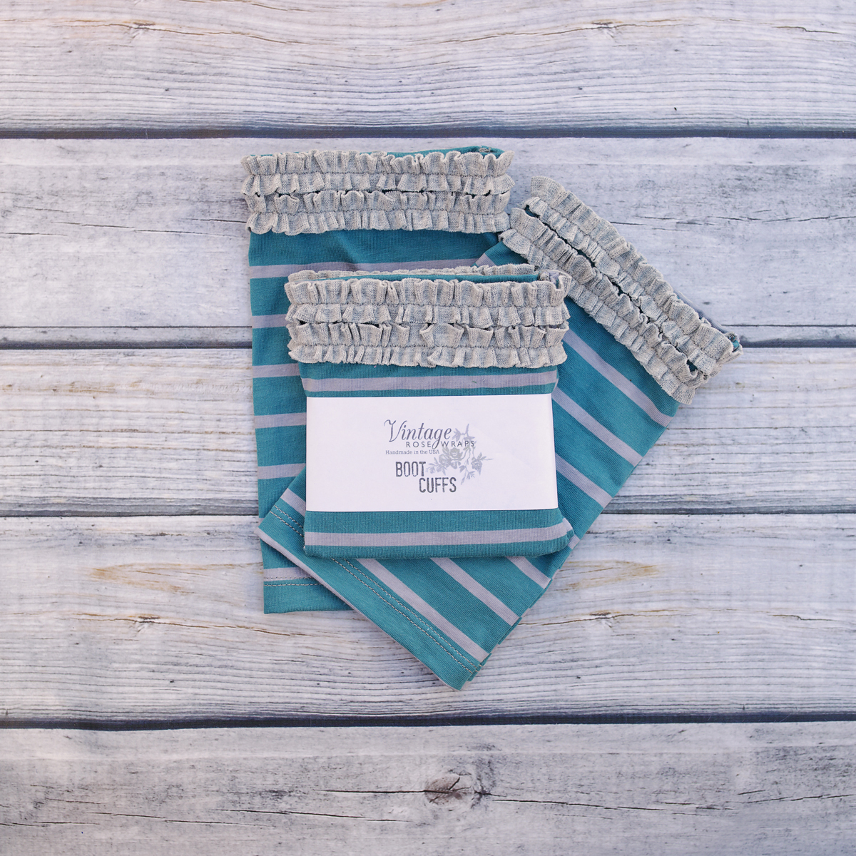 TEAL WITH GRAY BOOT CUFFS $20
