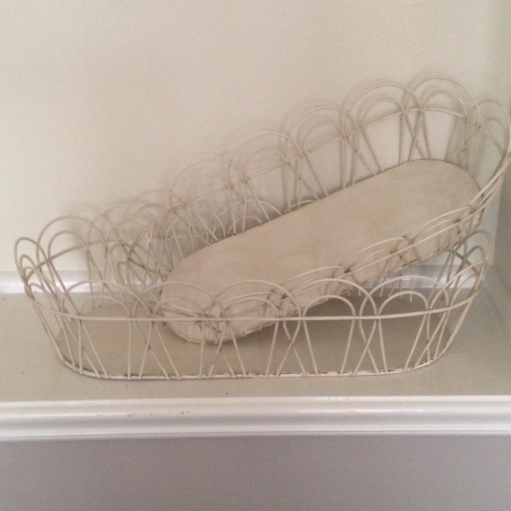 LARGE DISTRESSED WHITE METAL BASKET $20    MEDIUM DISTRESSED WHITE METAL BASKET $16
