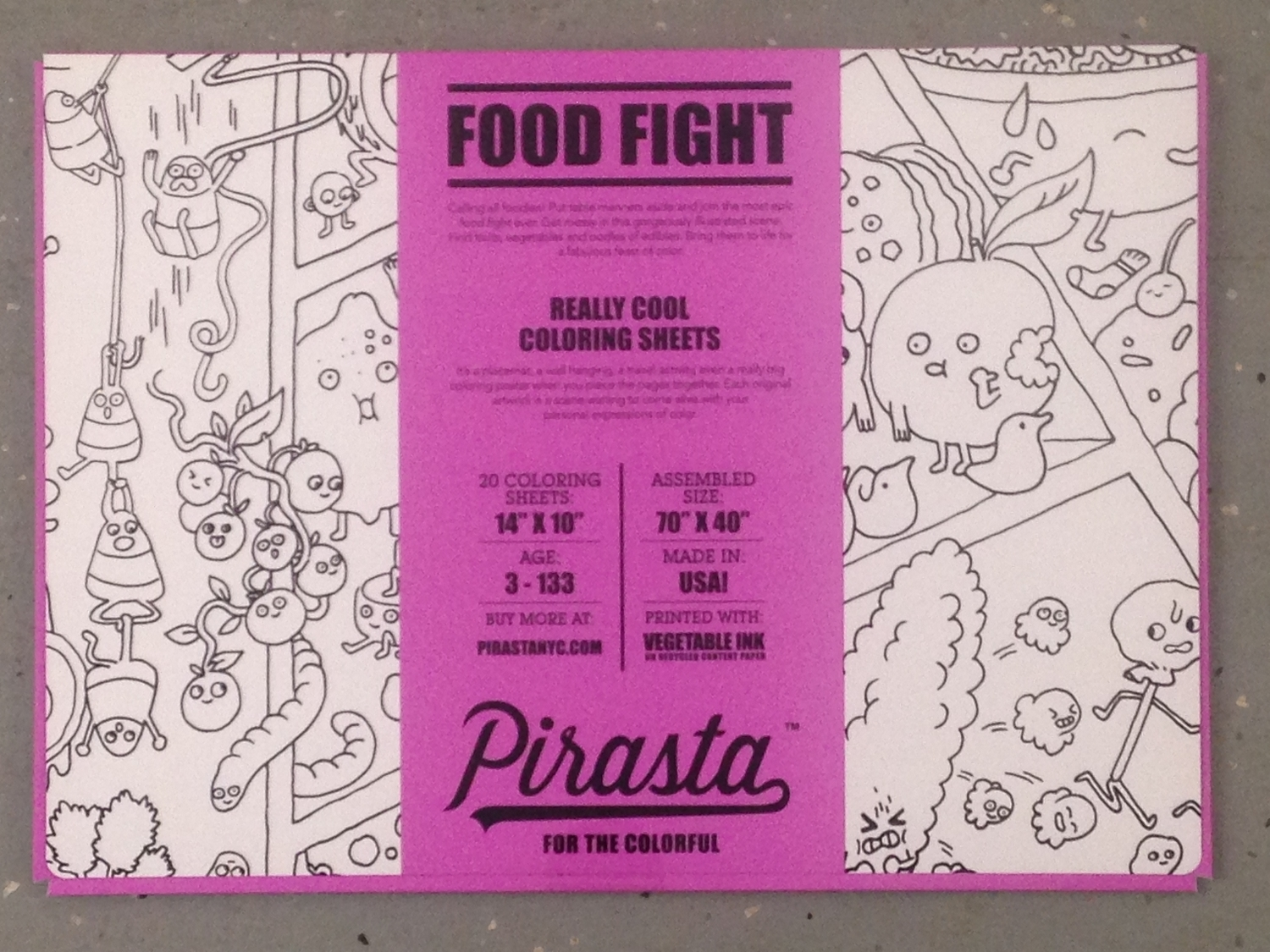 FOOD FIGHT COLORING PLACEMAT $20