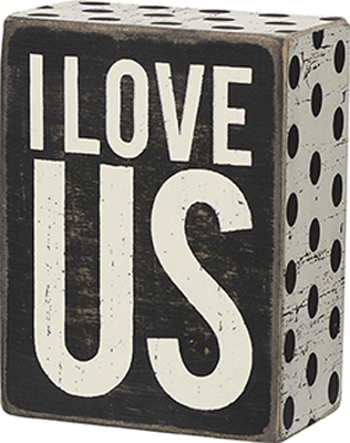 I LOVE US' BOX SIGN $9
