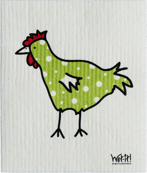 The Spotted Green Chicken Swedish Cloth $6