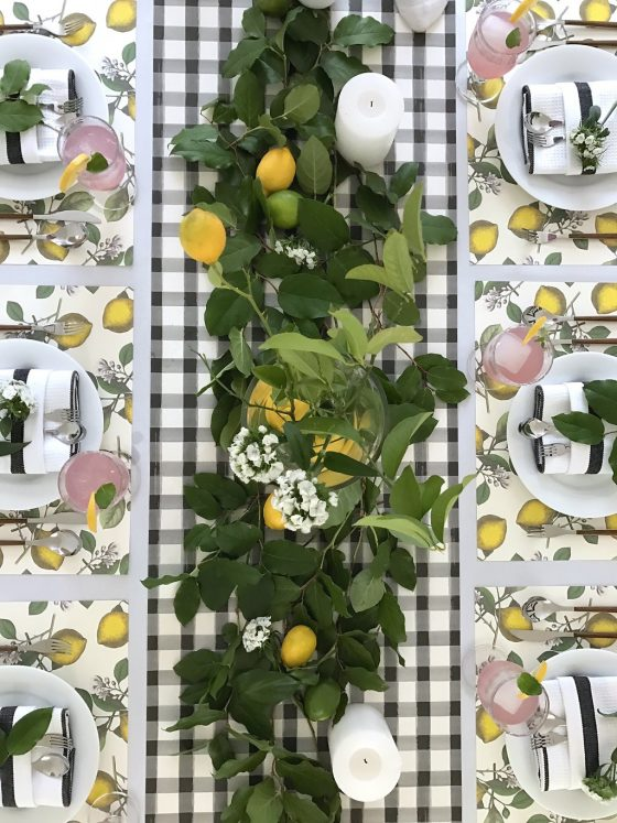 Lemon Placemats with Black Check Runner