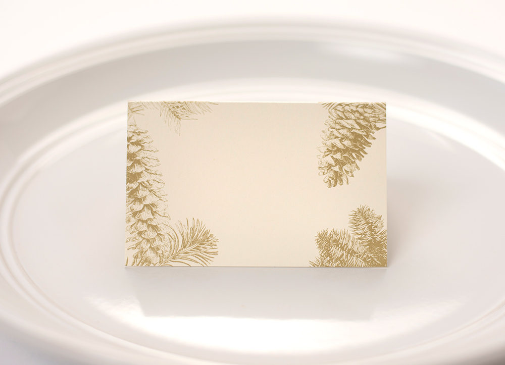 Gold Pinecone Place Cards $6
