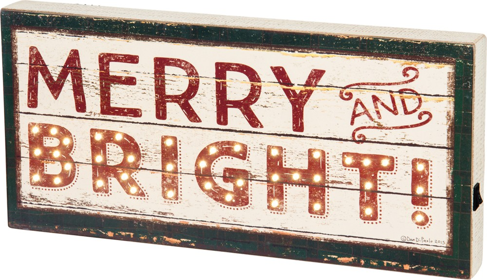 Merry and Bright Box Sign $54