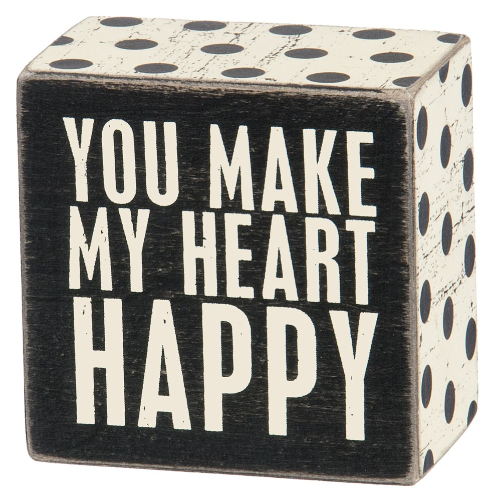 Heart Happy Box Sign $8