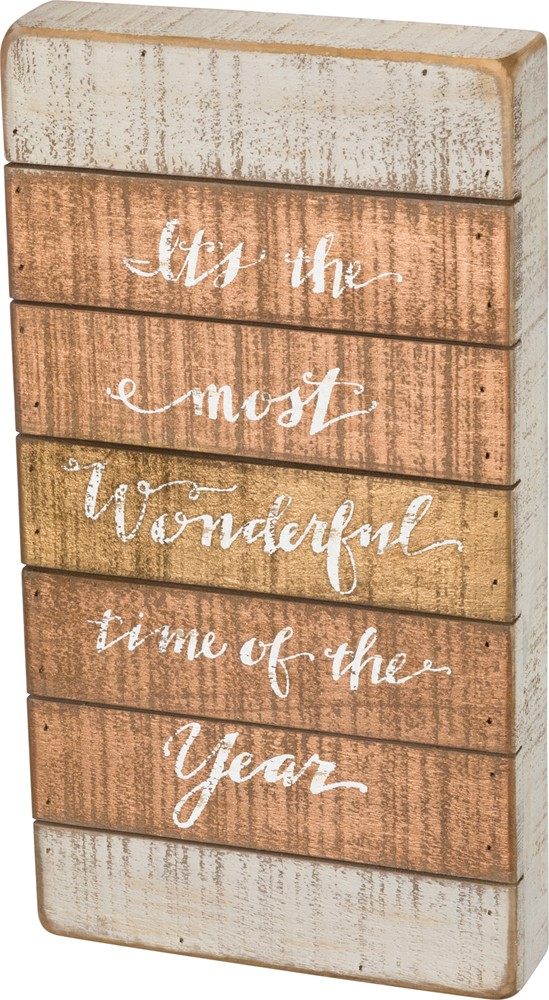 Wonderful Time Slat Box Sign $30