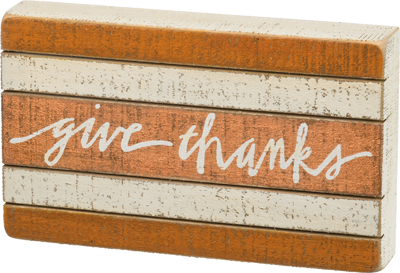 Give Thanks Slat Box Sign $20