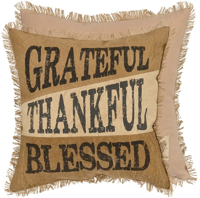 Thankful Canvas Pillow $30