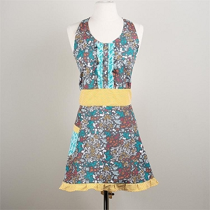 Mustard and Gray Floral Full Apron $30
